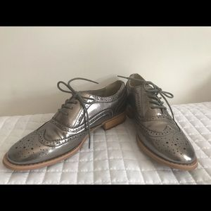 Pewter leather oxfords